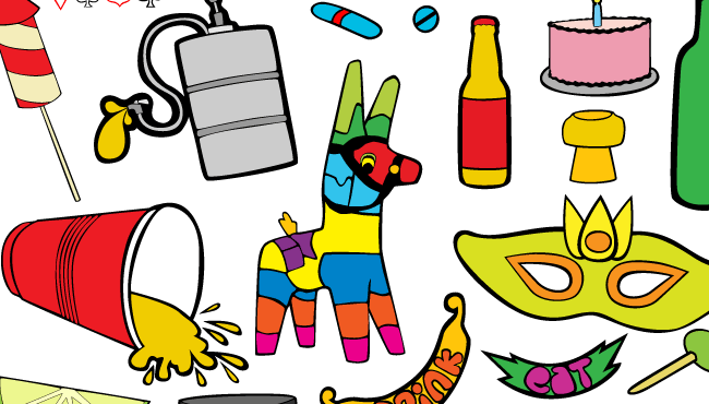 Free Bottle Vector, Fireworks Vector and Cake Vector are just a few of the awesome vectors in this free pack